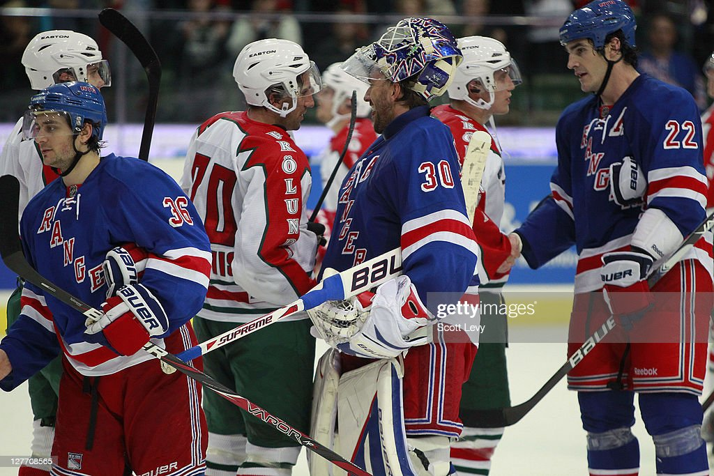 Henrik Lundqvist Of The New York Rangers Shakes Hands With His Twin