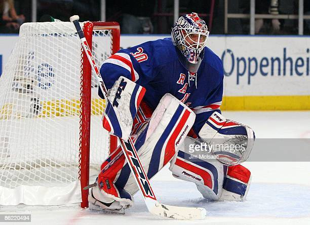 Henrik Lundqvist of the New York Rangers skates against the Washington Capitals during Game Four of the Eastern Conference Quarterfinal Round of the...