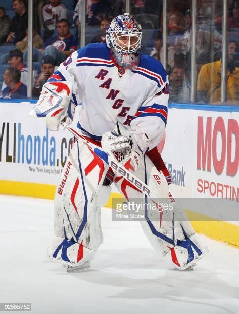 Henrik Lundqvist of the New York Rangers skates against the New York Islanders on October 28 2009 at Nassau Coliseum in Uniondale New York Islanders...