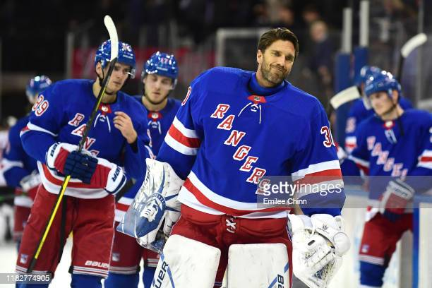 Henrik Lundqvist of the New York Rangers skates off the ice following their 3-1 loss to the Arizona Coyotes in overtime after their game at Madison...