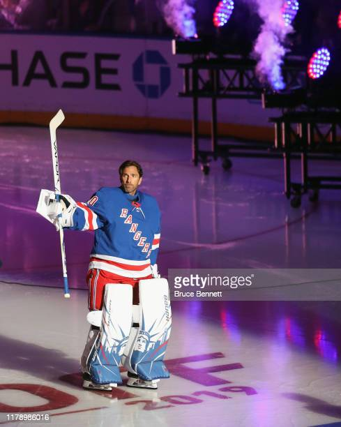 Henrik Lundqvist of the New York Rangers skates out to play against the Winnipeg Jets at Madison Square Garden on October 03, 2019 in New York City....