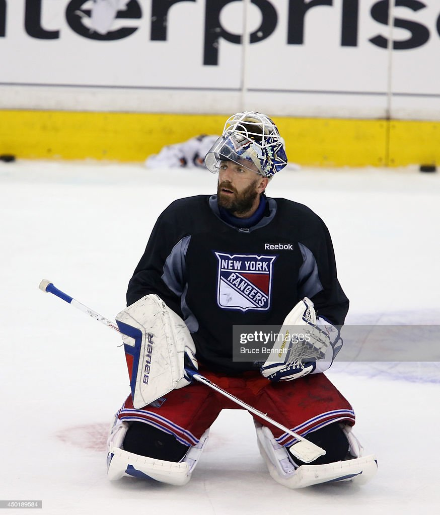 Henrik Lundqvist #30 of the New York Rangers takes part in a practice session on an off day during the 2014 NHL Stanley Cup playoffs at Staples Center on June 6, 2014 in Los Angeles, California.