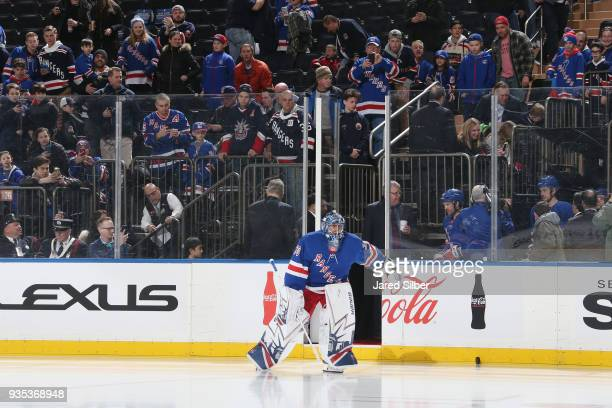 Henrik Lundqvist of the New York Rangers takes the ice for warmups before the game against the Columbus Blue Jackets at Madison Square Garden on...