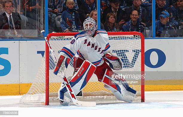 Henrik Lundqvist of the New York Rangers tends goal against the Atlanta Thrashers during Game 1 of the 2007 Eastern Conference Quarterfinals on April...