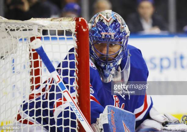 Henrik Lundqvist of the New York Rangers tends net against the Ottawa Senators in Game Three of the Eastern Conference Second Round during the 2017...