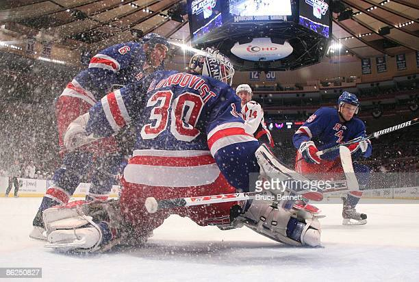 Henrik Lundqvist of the New York Rangers tends net against the Washington Capitals during Game Six of the Eastern Conference Quarterfinal Round of...
