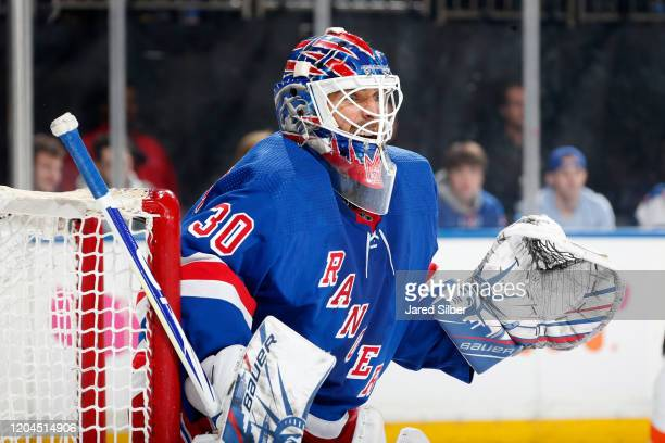 Henrik Lundqvist of the New York Rangers tends the net against the Philadelphia Flyers at Madison Square Garden on March 1, 2020 in New York City.