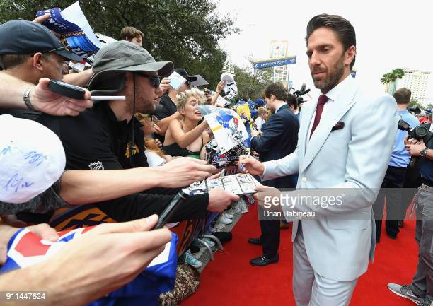 Henrik Lundqvist of the New York Rangers walks the red carpet prior to playing in the 2018 Honda NHL AllStar Game at Amalie Arena on January 28 2018...