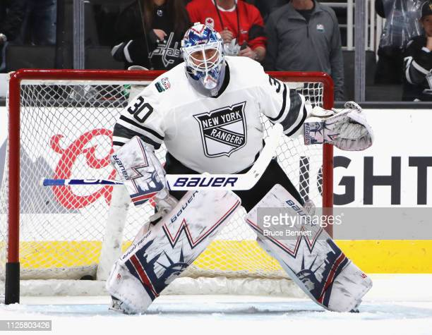 Henrik Lundqvist tends net during warmups prior to the 2019 Honda NHL AllStar Game at SAP Center on January 26 2019 in San Jose California