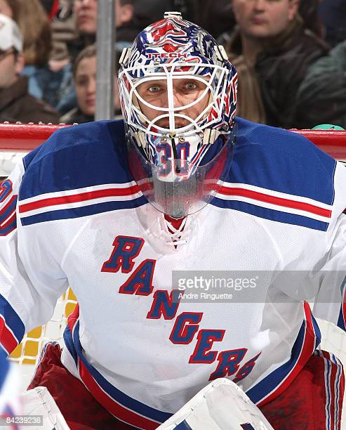 Henrik Lundqvist the New York Rangers focuses on the play against the Ottawa Senators at Scotiabank Place on January 10, 2009 in Ottawa, Ontario,...