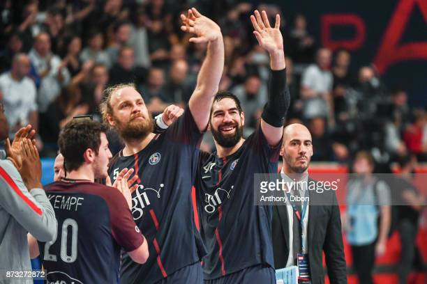Henrik Mollgaard and Nikola Karabatic of PSG celebrates during the Champions League match between Paris Saint Germain and Veszprem on November 12...