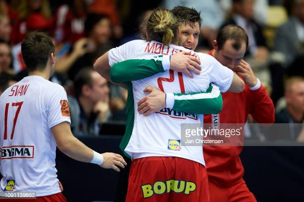 Henrik Mollgaard of Denmark and Goalkeeper Niklas Landin of Denmark celebrate during the IHF Men's World Championships Handball Final between Denmark...