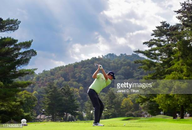 Henrik Norlander of Sweden plays his shot from the eighth tee during the first round of A Military Tribute At The Greenbrier held at the Old White...