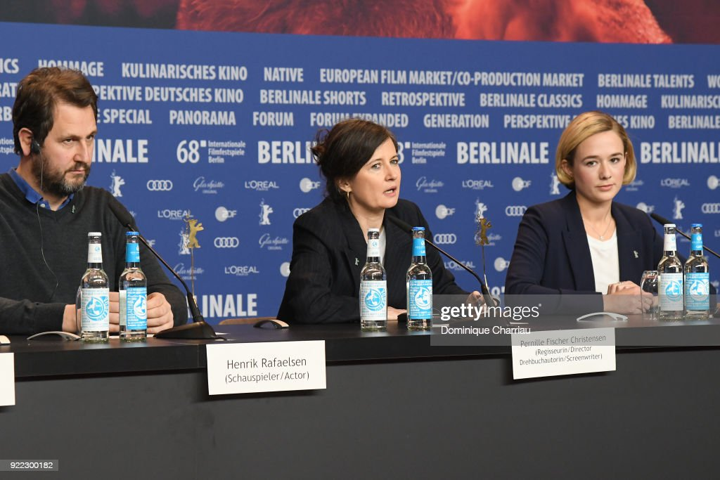 Henrik Rafaelsen, Pernille Fischer Christensen and Alba August attend the 'Becoming Astrid' (Unga Astrid) press conference during the 68th Berlinale International Film Festival Berlin at Grand Hyatt Hotel on February 21, 2018 in Berlin, Germany.