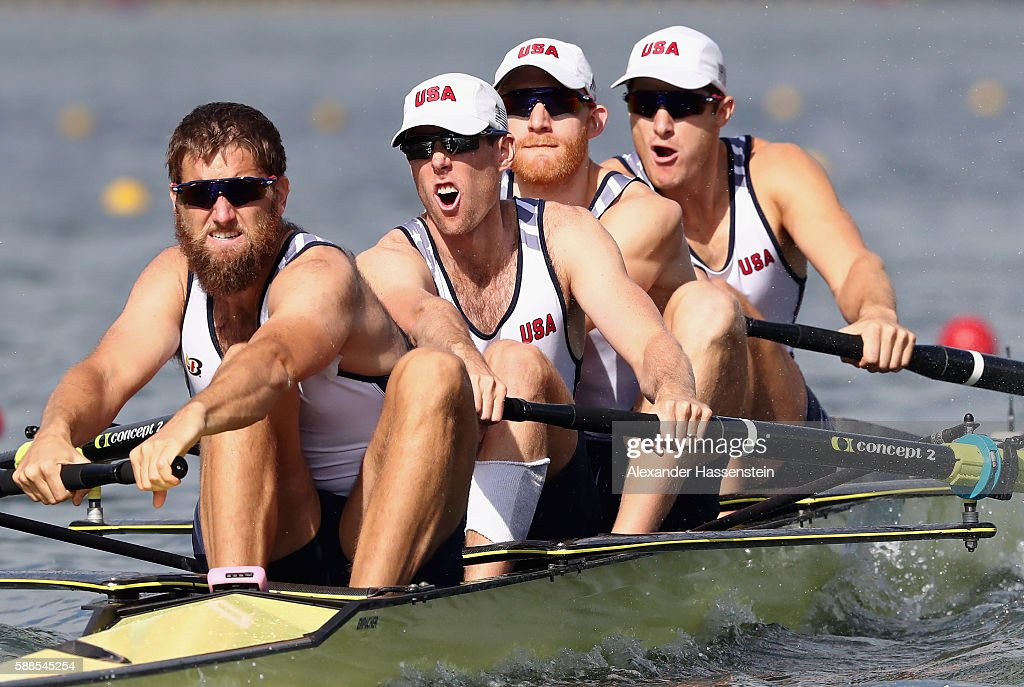 Henrik Rummel, Matthew Miller, Charles Cole, and Seth Weil of the United States compete during the Men's Four Semifinal on Day 6 of the Rio 2016 Olympic Games at the Lagoa Stadium on August 11, 2016 in Rio de Janeiro, Brazil.