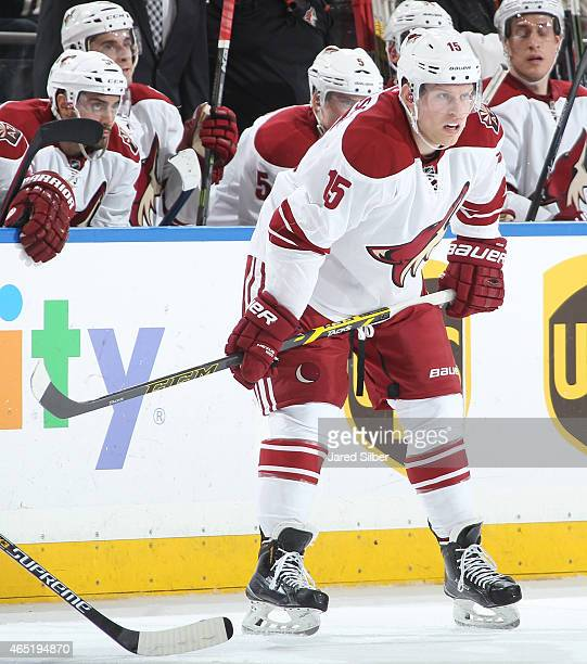 Henrik Samuelsson of the Arizona Coyotes looks on during a faceoff against the New York Rangers at Madison Square Garden on February 26 2015 in New...