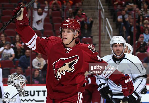Henrik Samuelsson of the Arizona Coyotes reacts after scoring a first period goal past goaltender JF Berube of the Los Angeles Kings during the...