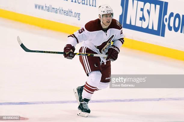 Henrik Samuelsson of the Arizona Coyotes skates against the Boston Bruins at the TD Garden on February 28 2015 in Boston Massachusetts