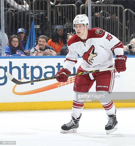 Henrik Samuelsson of the Arizona Coyotes skates against the New York Rangers at Madison Square Garden on February 26 2015 in New York City The New...