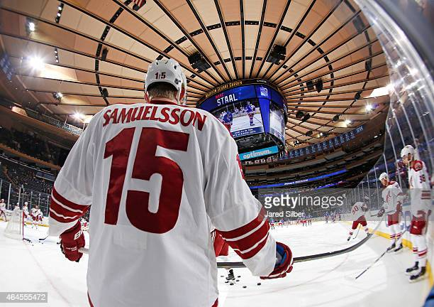 Henrik Samuelsson of the Arizona Coyotes skates during pre game warmups prior to making his NHL debut during the game against the New York Rangers at...