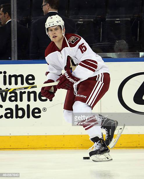 Henrik Samuelsson of the Arizona Coyotes skates in warmups prior to playing in his first NHL game against the New York Rangers at Madison Square...