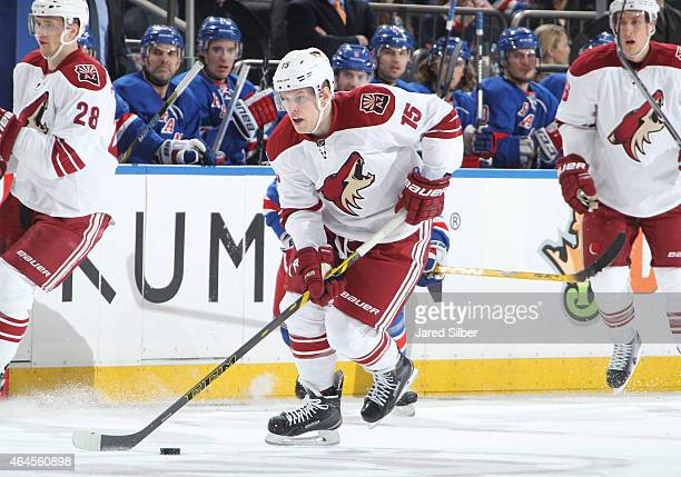 Henrik Samuelsson of the Arizona Coyotes skates with the puck against the New York Rangers at Madison Square Garden on February 26 2015 in New York...