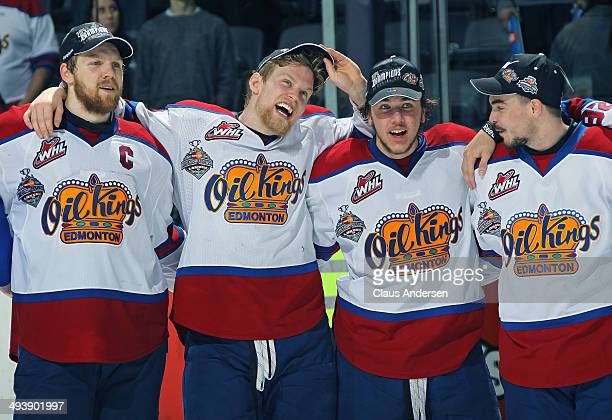 Henrik Samuelsson of the Edmonton Oil Kings and his teammates celebrate defeating the Guelph Storm in the final of the 2014 MasterCard Memorial Cup...