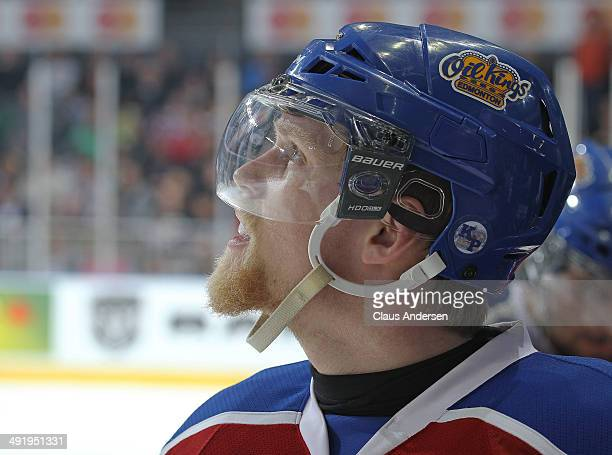 Henrik Samuelsson of the Edmonton Oil Kings checks the clock against the Guelph Storm in Game Two of the 2014 Mastercard Memorial Cup at Budweiser...