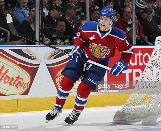 Henrik Samuelsson of the Edmonton Oil Kings skates against the Guelph Storm in Game Two of the 2014 Mastercard Memorial Cup at Budweiser Gardens on...