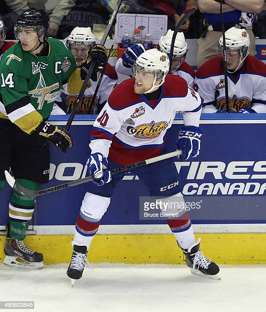 Henrik Samuelsson of the Edmonton Oil Kings skates against the Vald'Or Foreurs during the 2014 Memorial Cup tournament at Budweiser Gardens on May 23...