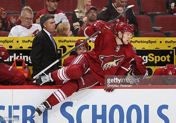 Henrik Samuelsson of the Phoenix Coyotes leaps over the boards during the preseason NHL game against Los Angeles Kings at Jobingcom Arena on...
