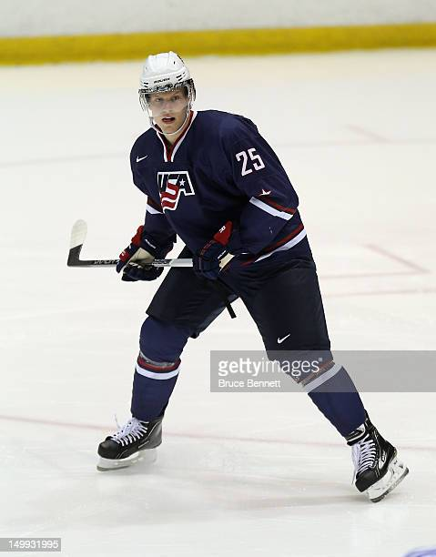 Henrik Samuelsson of the USA Blue Squad skates against Team Finland at the USA hockey junior evaluation camp at the Lake Placid Olympic Center on...