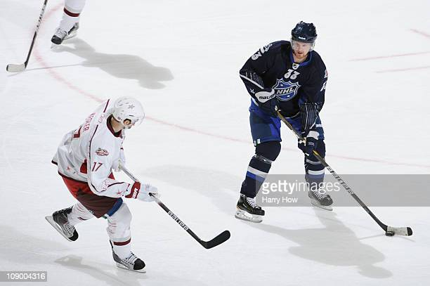 Henrik Sedin of the Vancouver Canucks and Team Lidstrom plays against Ryan Kesler of the Vancouver Canucks and Team Staal in the 58th NHL AllStar...