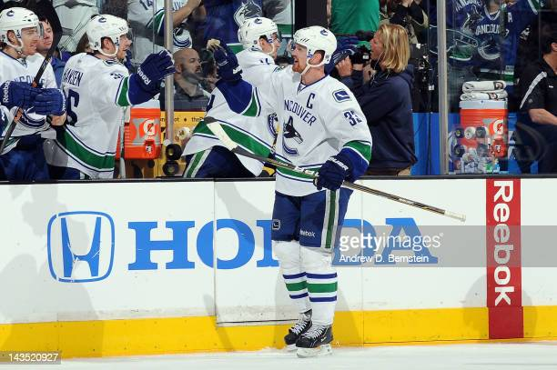 Henrik Sedin of the Vancouver Canucks celebrates after a goal against the Los Angeles Kings in Game Four of the Western Conference Quarterfinals...