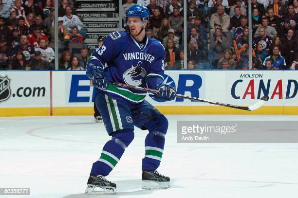 Henrik Sedin of the Vancouver Canucks follows the play during a game against the Edmonton Oilers at Rexall Place on March 20 2008 in Edmonton Alberta...