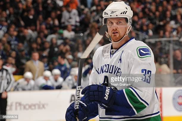 Henrik Sedin of the Vancouver Canucks looks on against the Los Angeles Kings in Game Three of the Western Conference Quarterfinals during the 2010...