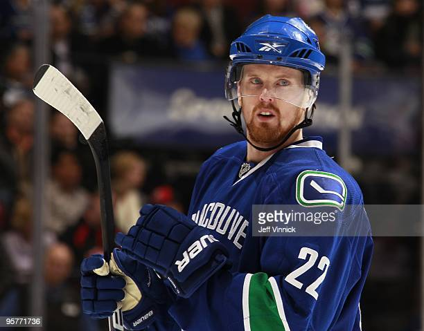 Henrik Sedin of the Vancouver Canucks looks to the bench during their game against the Nashville Predators at General Motors Place on January 11 2010...