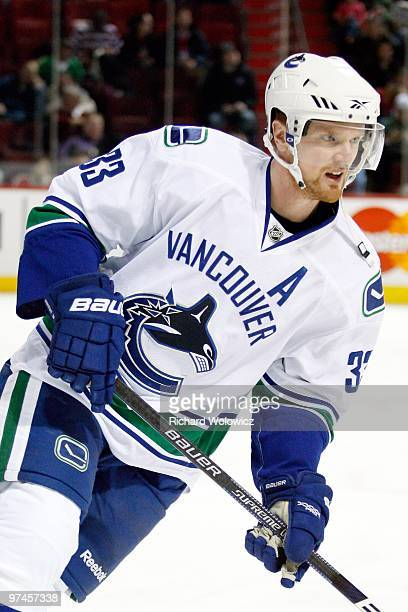Henrik Sedin of the Vancouver Canucks skates during the warm up period prior to facing the Montreal Canadiens in their NHL game on February 2 2010 at...