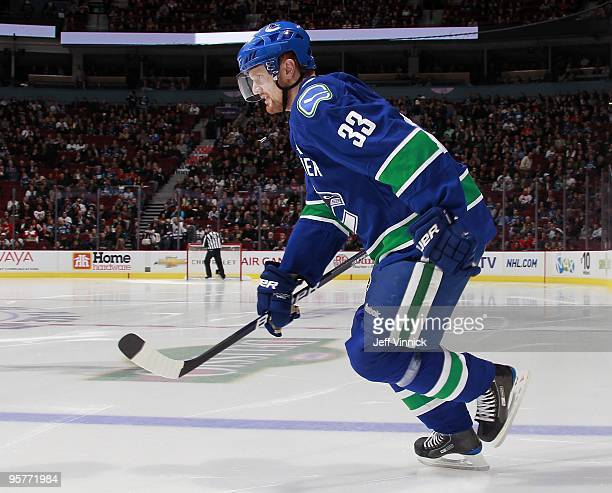 Henrik Sedin of the Vancouver Canucks skates up ice during their game against the Nashville Predators at General Motors Place on January 11 2010 in...