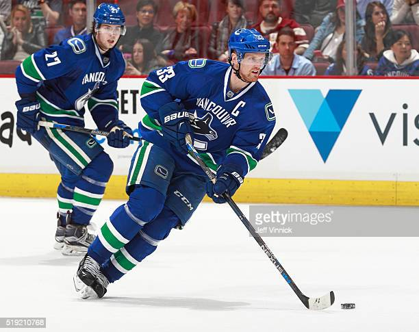 Henrik Sedin of the Vancouver Canucks skates up ice during their NHL game against the San Jose Sharks at Rogers Arena March 3, 2016 in Vancouver,...