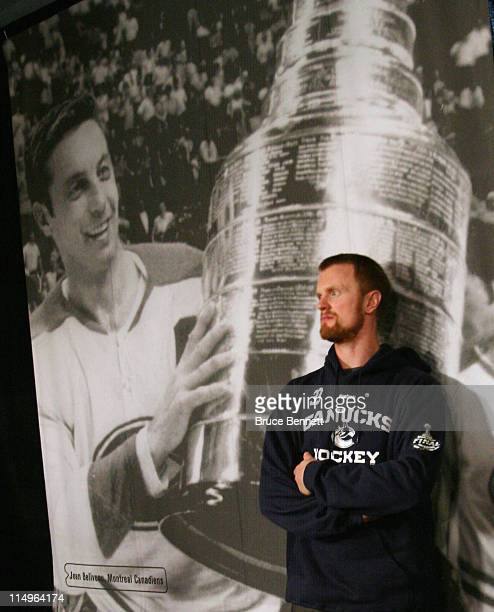 Henrik Sedin of the Vancouver Canucks takes a break following a media session the day before the opening game of the 2011 NHL Stanley Cup Finals at...