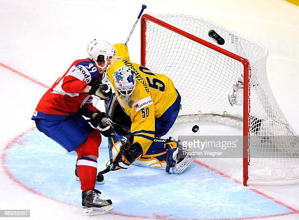 Henrik Solberg of Norway scores his team's second goal during the IIHF World Championship group C match between Czech Republic and France at SAP...