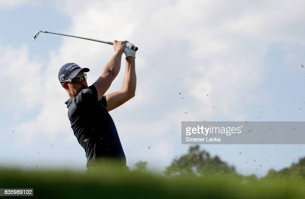 Henrik Stenson hits a tee shot on the 16th hole during the final round of the Wyndham Championship at Sedgefield Country Club on August 20 2017 in...