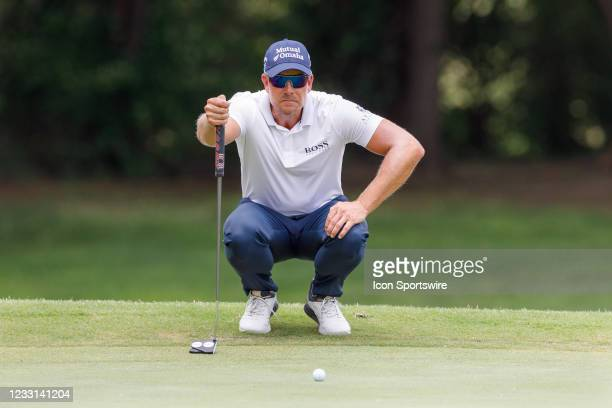 Henrik Stenson lines up his putt on during the first round of the Charles Schwab Challenge on May 27, 2021 at Colonial Country Club in Fort Worth, TX