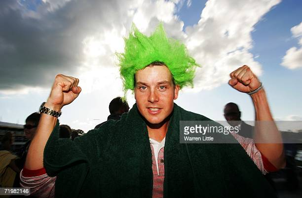Henrik Stenson of Europe celebrates after Europe win the Ryder Cup by a score of 18 1/2 9 1/2 on the final day of the 2006 Ryder Cup at The K Club on...