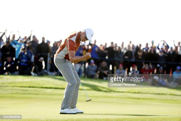 Henrik Stenson of Europe celebrates during the afternoon foursome matches of the 2018 Ryder Cup at Le Golf National on September 29, 2018 in Paris,...