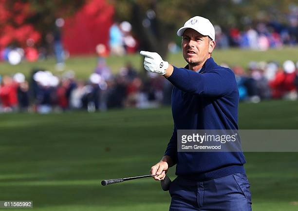 Henrik Stenson of Europe gestures on the 12th green during morning foursome matches of the 2016 Ryder Cup at Hazeltine National Golf Club on...
