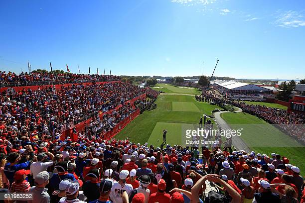 Henrik Stenson of Europe hits off the first tee during singles matches of the 2016 Ryder Cup at Hazeltine National Golf Club on October 2 2016 in...