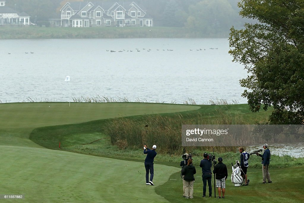 Henrik Stenson of Europe plays a shot to the seventh green during morning foursome matches of the 2016 Ryder Cup at Hazeltine National Golf Club on September 30, 2016 in Chaska, Minnesota.