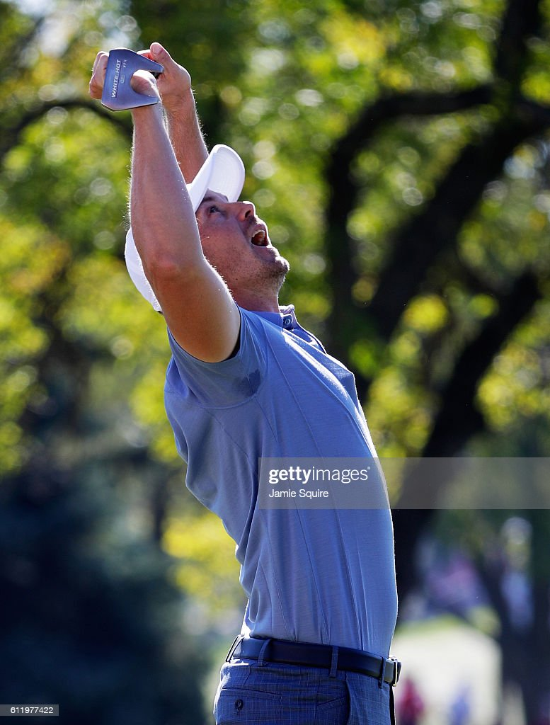 Henrik Stenson of Europe reacts to a missed putt on the second green during singles matches of the 2016 Ryder Cup at Hazeltine National Golf Club on October 2, 2016 in Chaska, Minnesota.